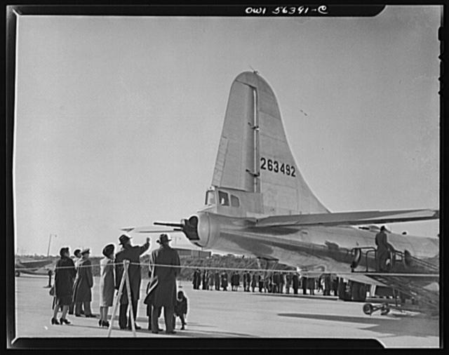 B-29 Super Fortress display at Washington National Airport. Note tail guns and gunner's compartment