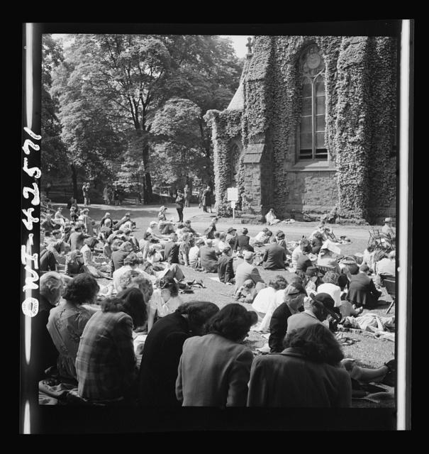 Bethelehem, Pennsylvania. Bach festival. On the lawn during the Bach festival outside Parker Memorial Chapel