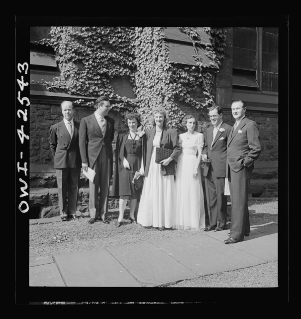 Bethlehem, Pennsylvania. Bach festival. Left to right: Mack Harrell, bass; Victor Laderoute, tenor; Ruth Diehl, soprano; Ruth Terry, contralto; Mary Givens, accompanist; Dr. Ifor Jones, conductor, E. Power Biggs, organist