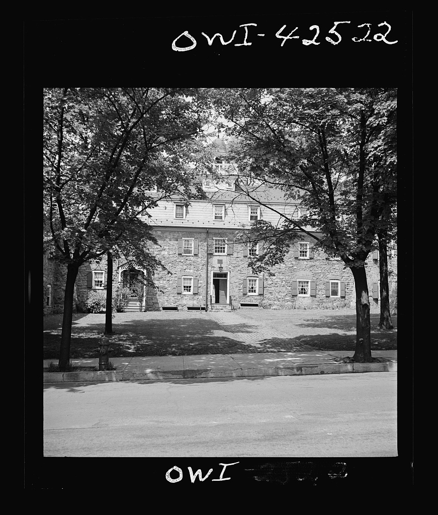 """Bethlehem, Pennsylvania. Bach festival. Old """"Bell House"""" used to house the Moravian seminary for women, the oldest girls' school in the original thirteen colonies"""