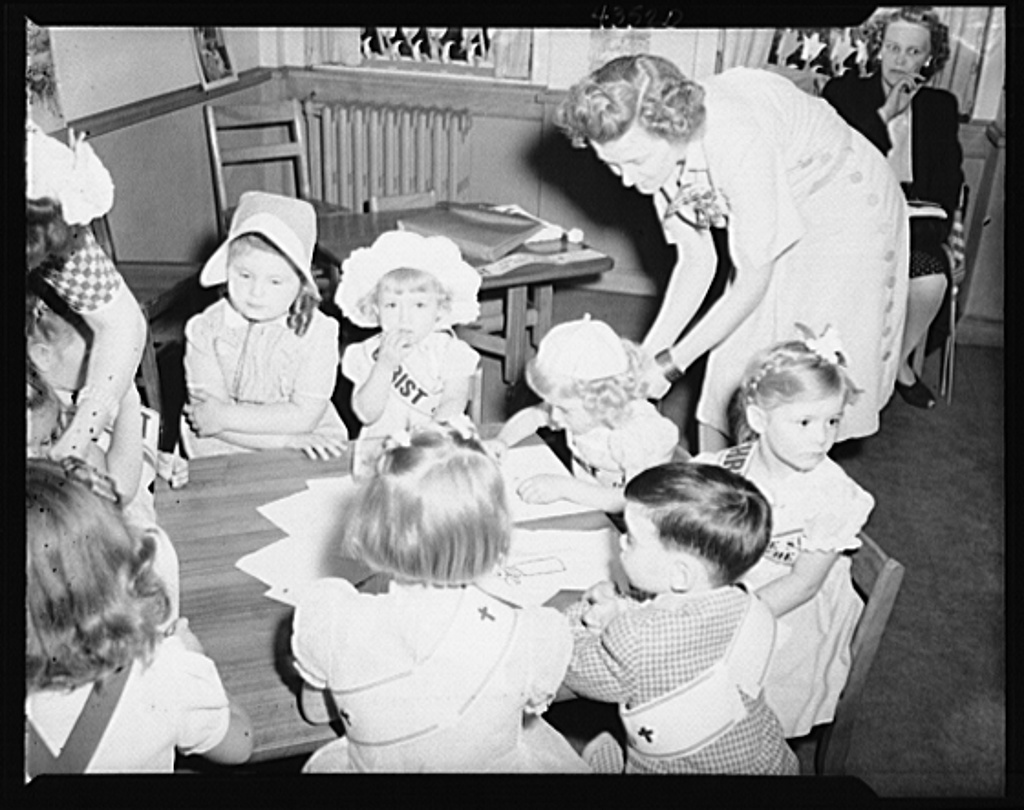 Brooklyn, New York. Children making drawings at the Sunday school of the Church of the Good Shepherd