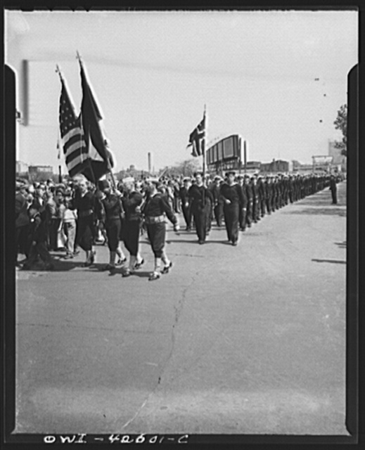 Brooklyn, New York. Norwegian Independence Day celebration. Norwegian-American parade. United States Navy color guard and a group of the Royal Norwegian Navy