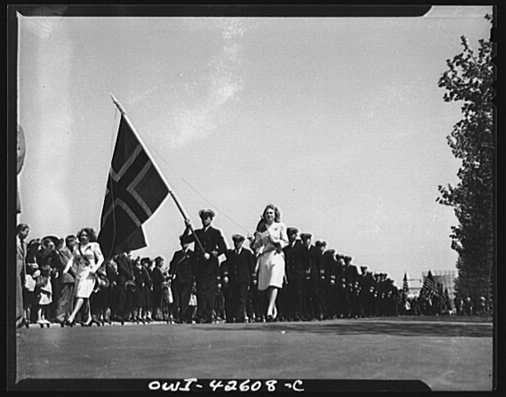 Brooklyn, New York. Norwegian Independence Day celebration. Norwegian-American parade. Mate of the Norwegian merchant marine