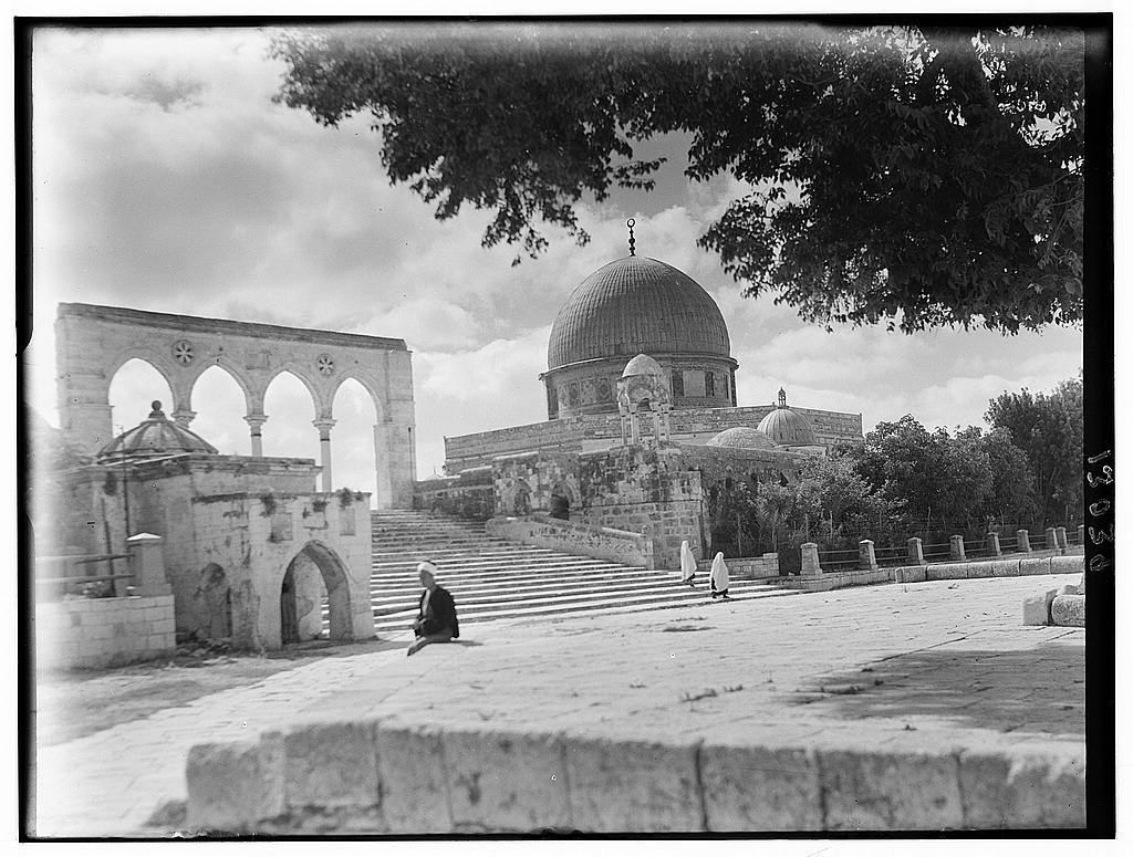 Dome of the Rock. Exteriors, closer up with tree, general view