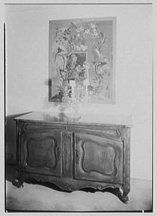 Frederic March, residence at 130 East End Ave., New York City. Capehart console