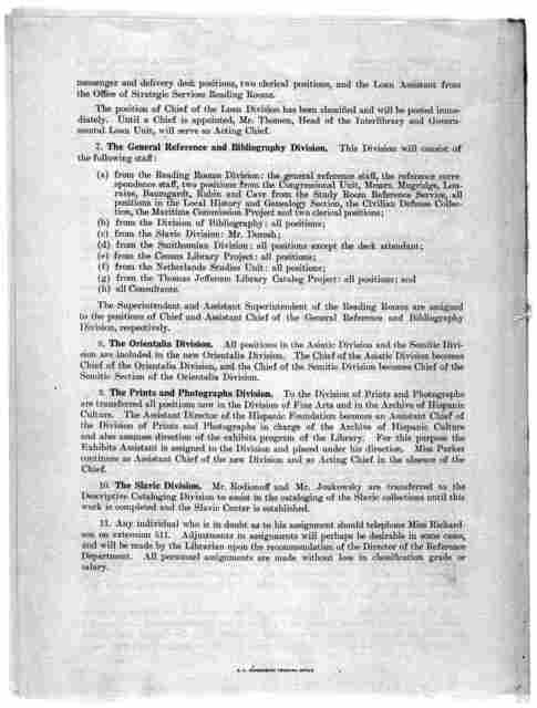 General Order No. 1218, Office of the Librarian, Library of Congress, March 25, 1944