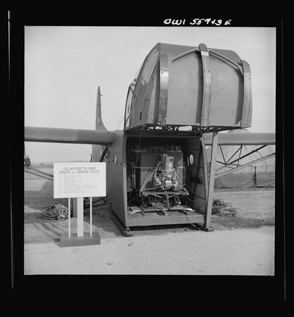 Glider used to carry utility and service units. Shown at demonstration of equiment held by United States Army Air Forces. Cargo space is large enough to hold a jeep and six men or a 75mm pack Howitzer, with crew