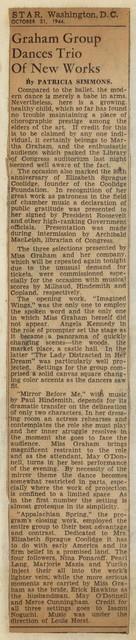 Graham Group Dances Trio of New Works