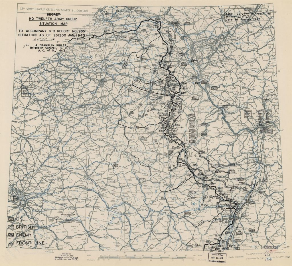 HQ Twelfth Army Group situation map : [Battle of the Bulge--France, Belgium, Netherlands, and Germany] /