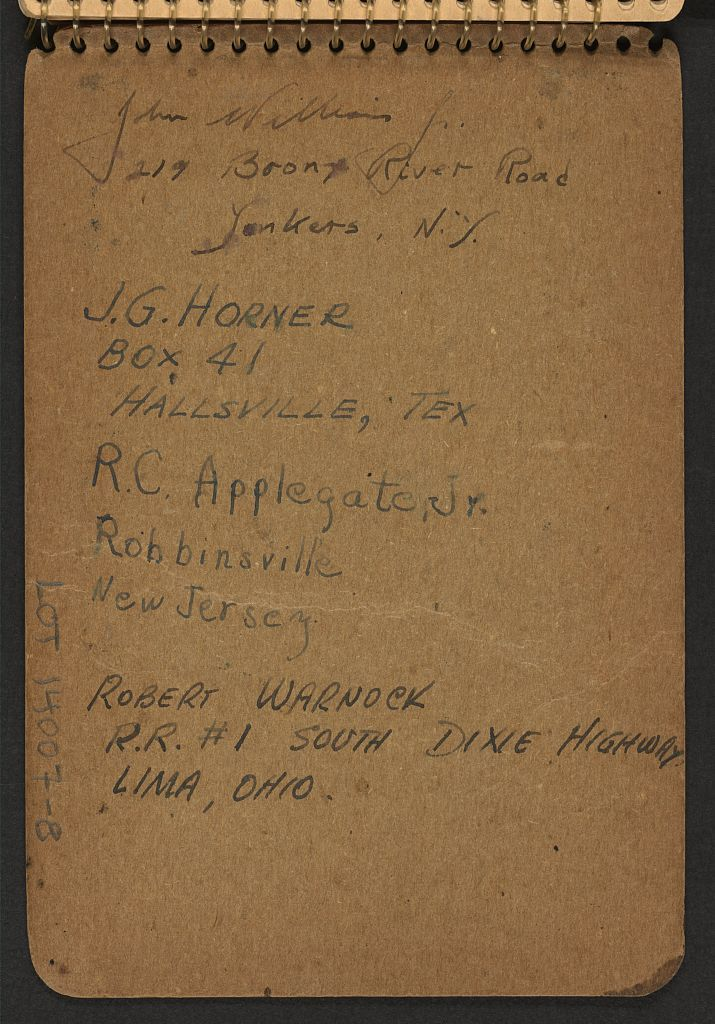 [Inside back cover of sketchbook, volume 8, with names and addresses]