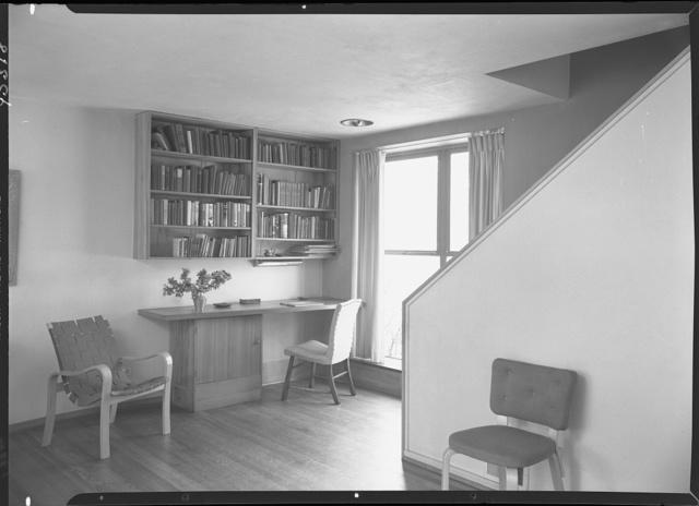 Jesse Oser, residence in Elkins Park, Pennsylvania. Living room, to desk