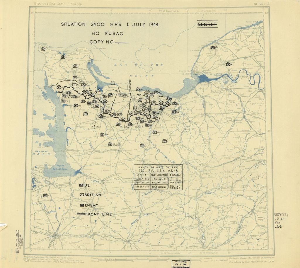 [July 1, 1944], HQ Twelfth Army Group situation map.