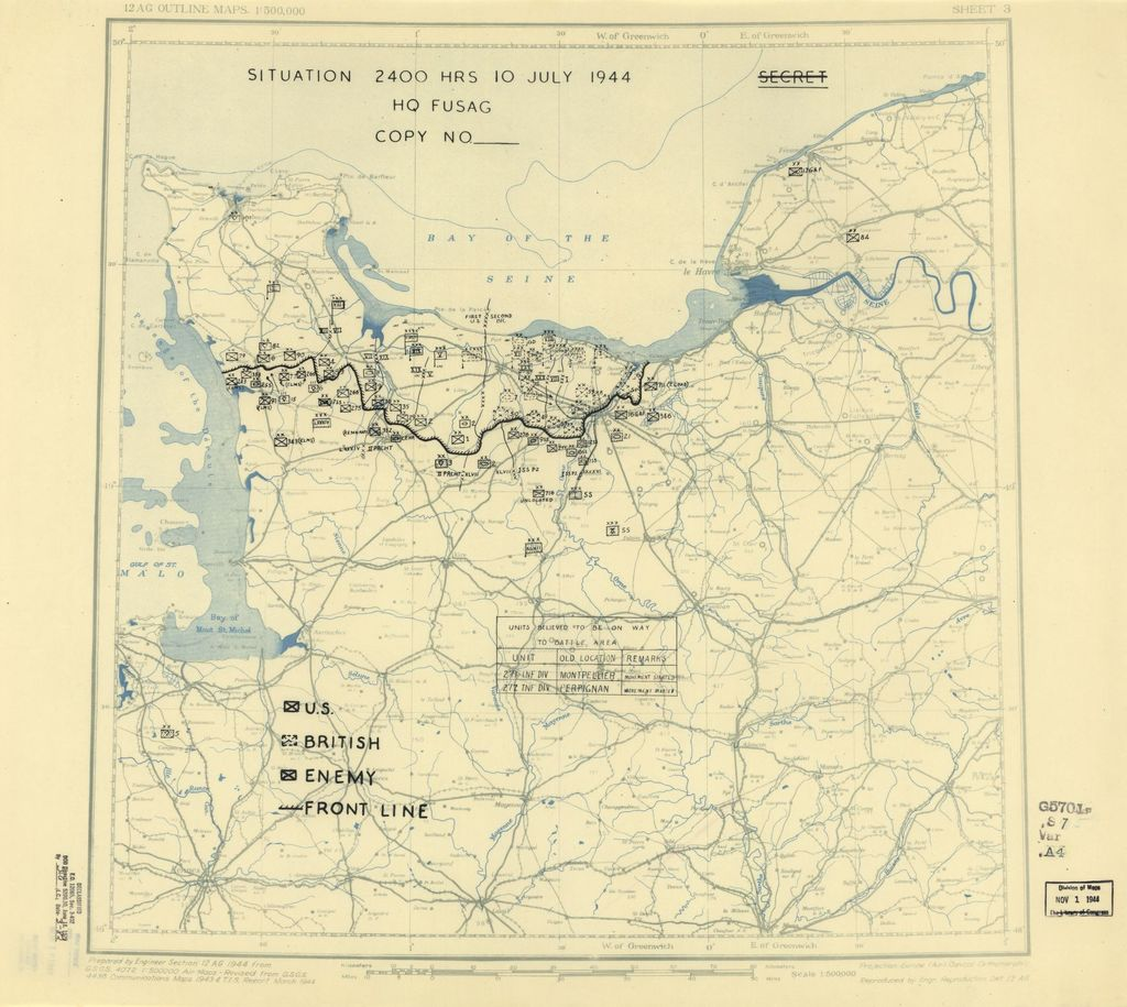 [July 10, 1944], HQ Twelfth Army Group situation map.