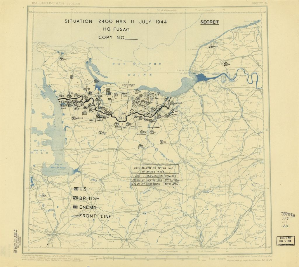 [July 11, 1944], HQ Twelfth Army Group situation map.