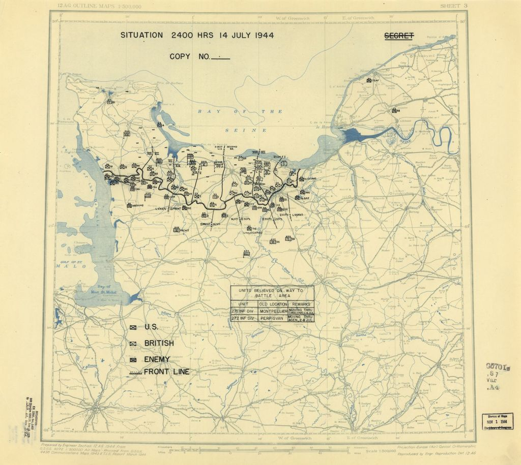 [July 14, 1944], HQ Twelfth Army Group situation map.