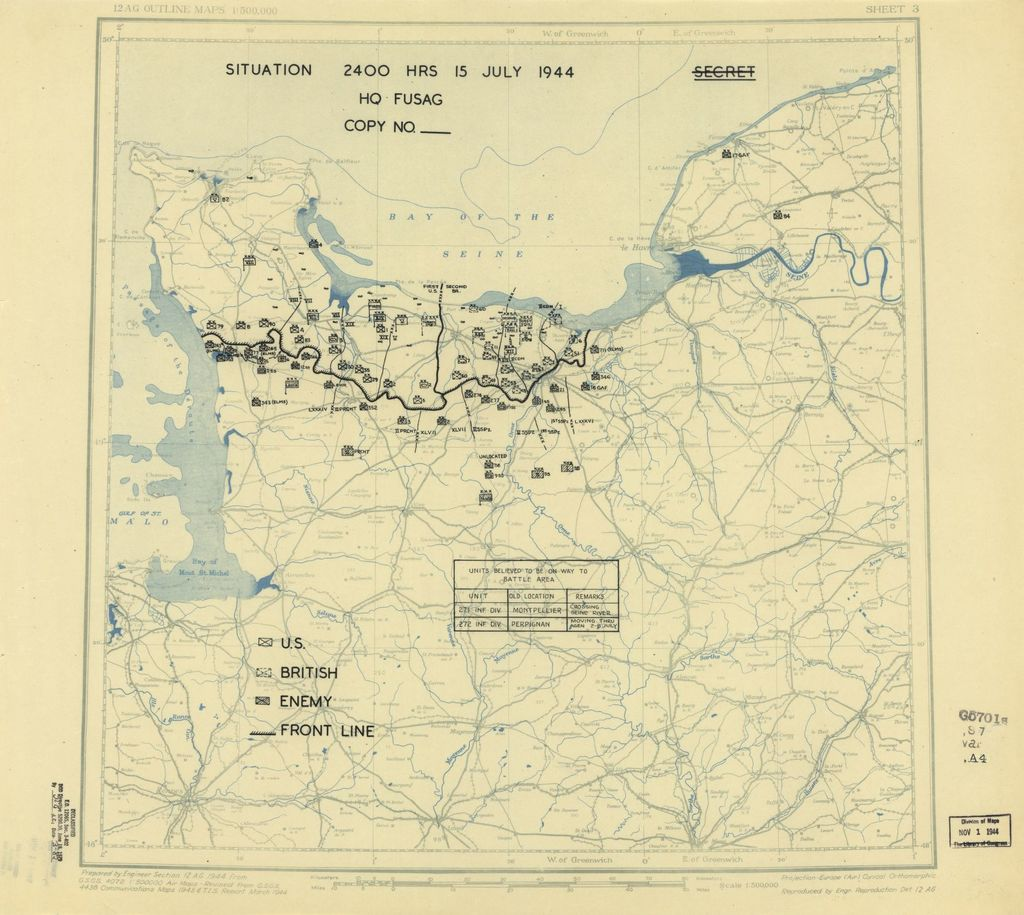 [July 15, 1944], HQ Twelfth Army Group situation map.