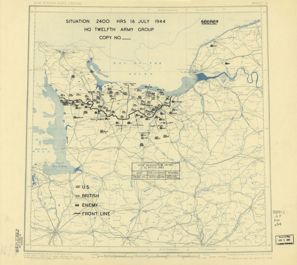 [July 16, 1944], HQ Twelfth Army Group situation map.