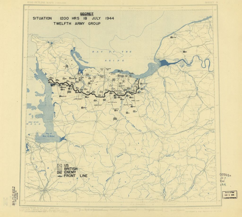 [July 18, 1944], HQ Twelfth Army Group situation map.
