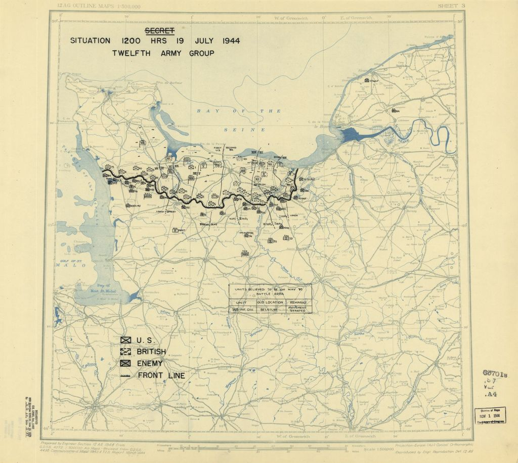 [July 19, 1944], HQ Twelfth Army Group situation map.