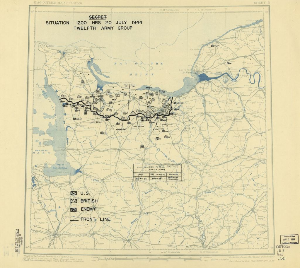 [July 20, 1944], HQ Twelfth Army Group situation map.