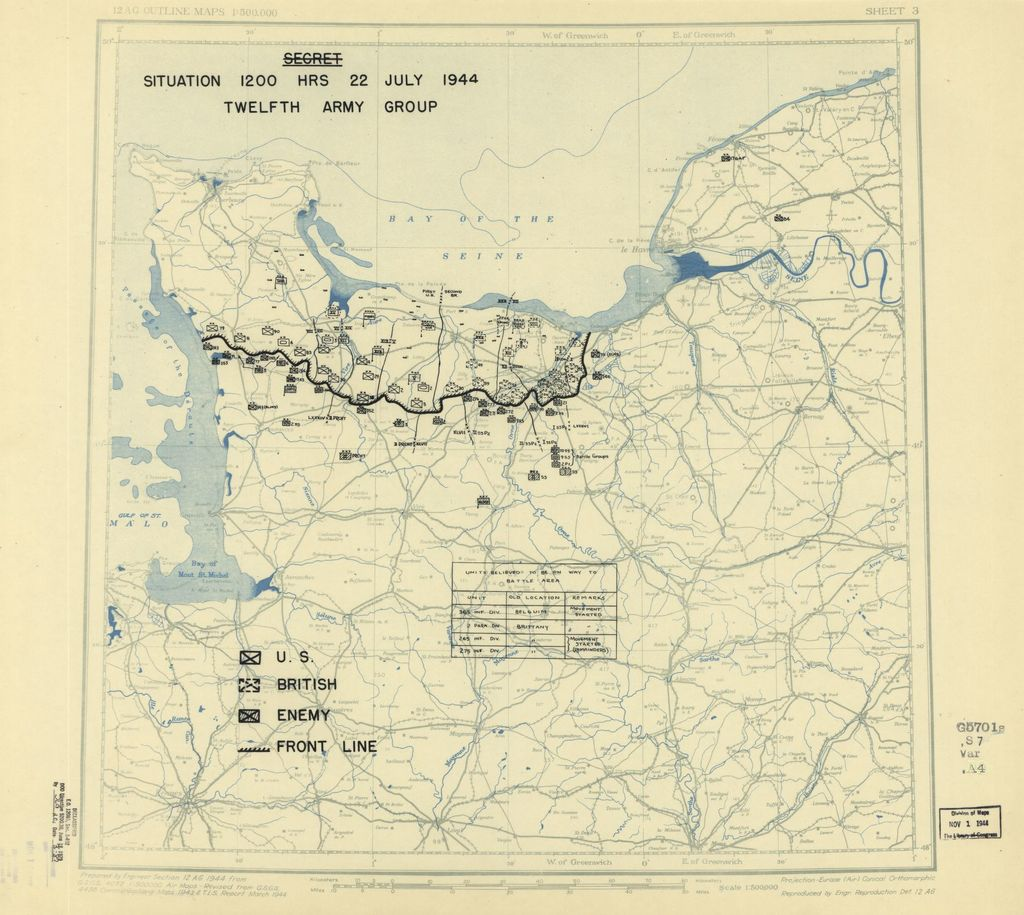 [July 22, 1944], HQ Twelfth Army Group situation map.