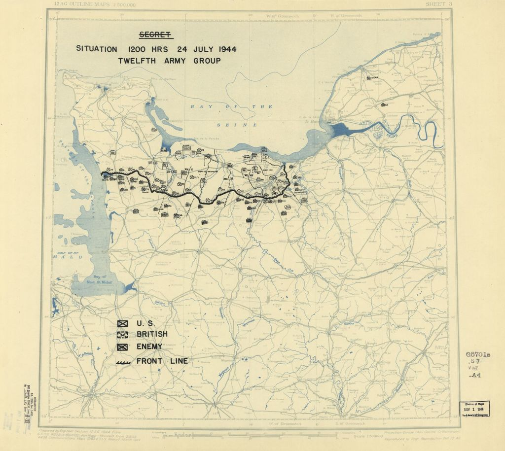 [July 24, 1944], HQ Twelfth Army Group situation map.