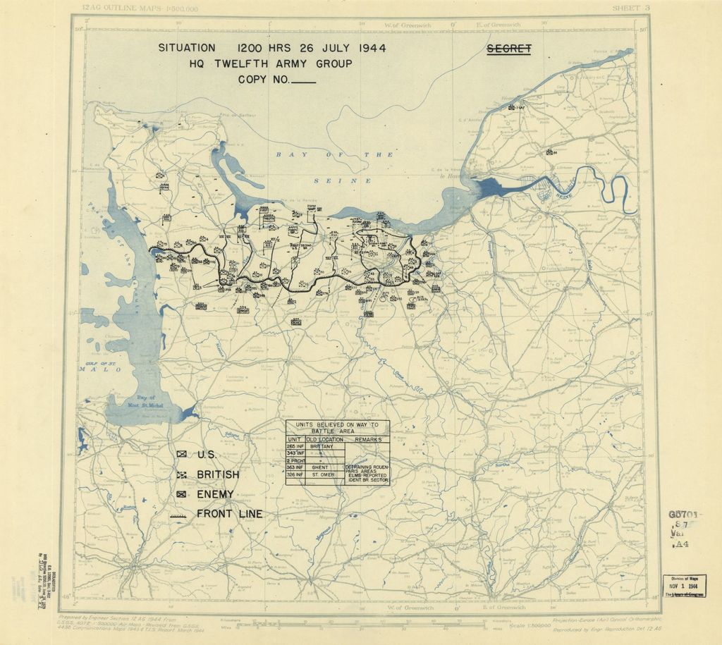 [July 26, 1944], HQ Twelfth Army Group situation map.
