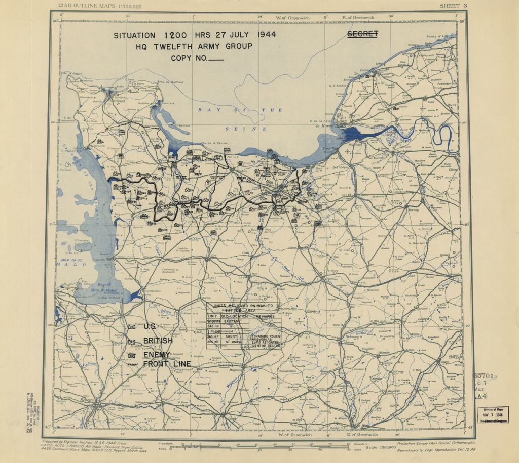 [July 27, 1944], HQ Twelfth Army Group situation map.