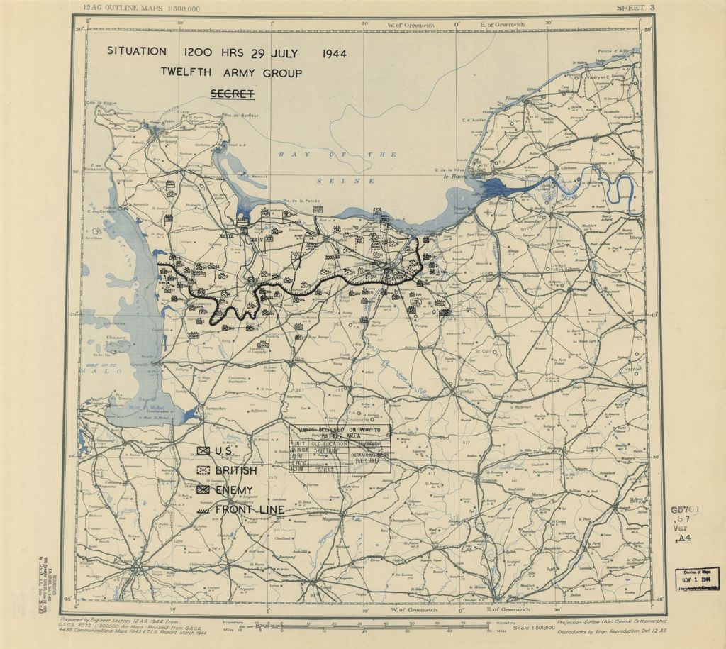 [July 29, 1944], HQ Twelfth Army Group situation map.