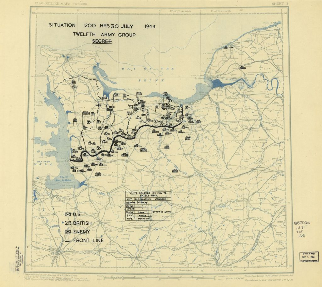 [July 30, 1944], HQ Twelfth Army Group situation map.