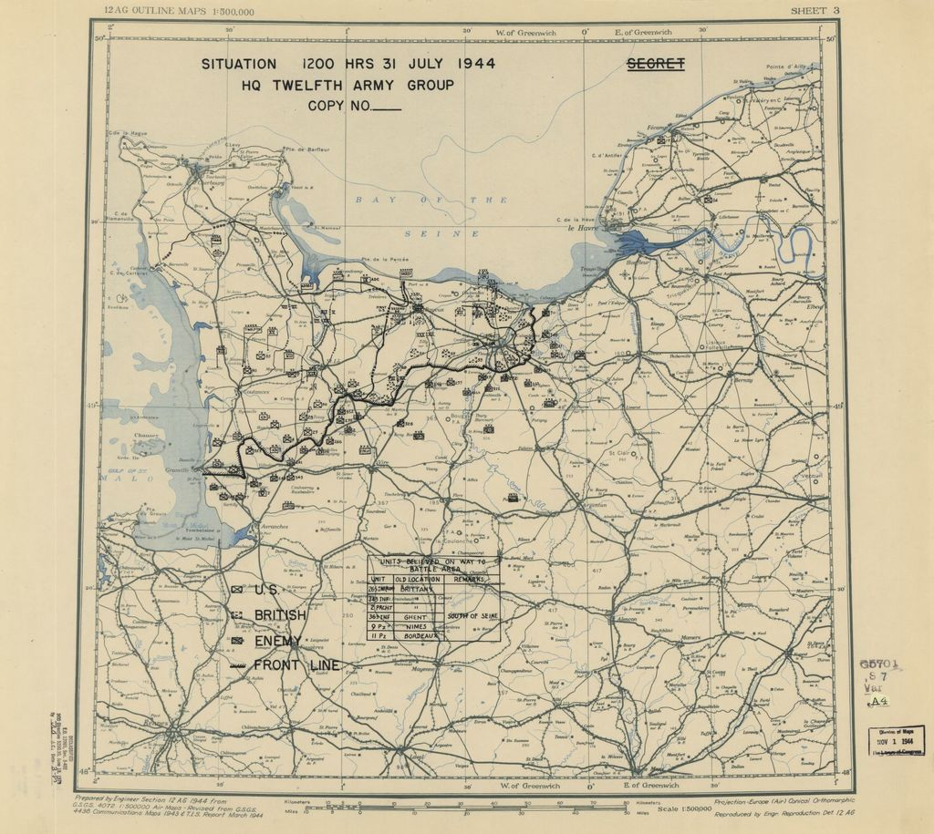 [July 31, 1944], HQ Twelfth Army Group situation map.