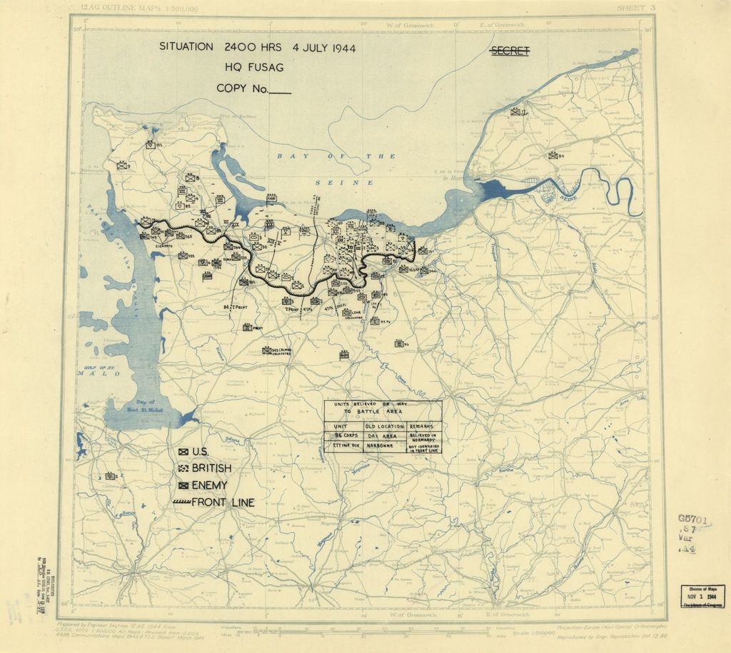 [July 4, 1944], HQ Twelfth Army Group situation map.