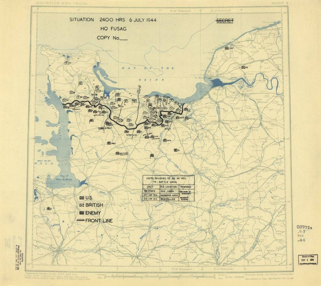 [July 6, 1944], HQ Twelfth Army Group situation map.
