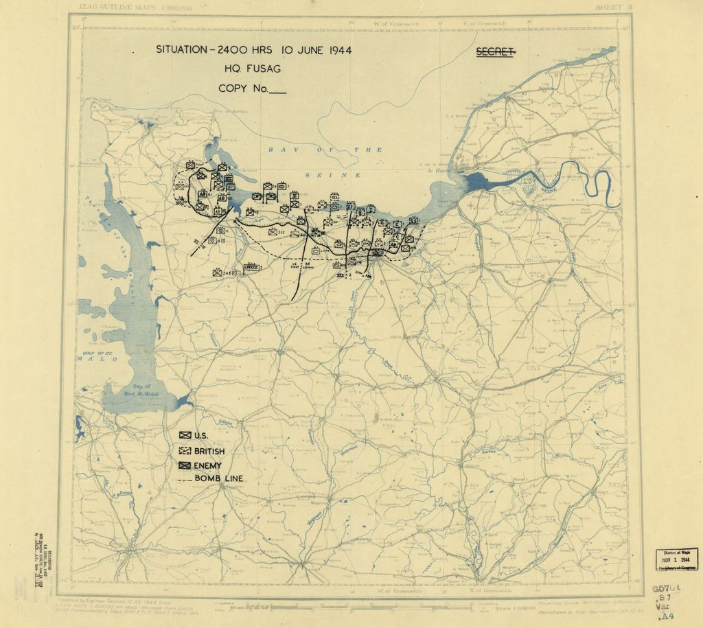 [June 10, 1944], HQ Twelfth Army Group situation map.