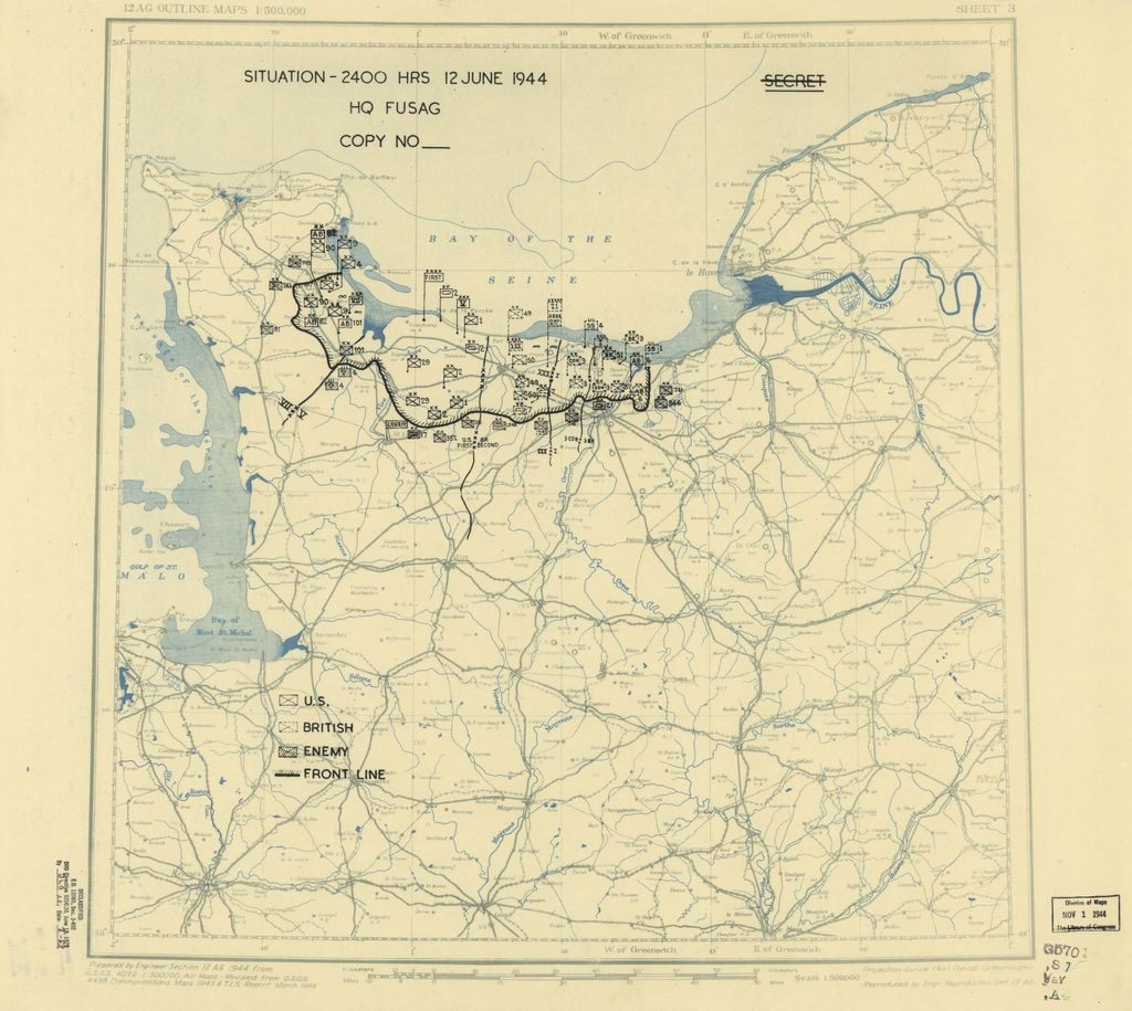 [June 12, 1944], HQ Twelfth Army Group situation map.