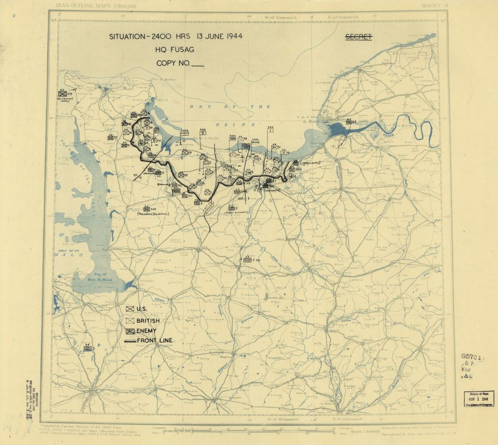 [June 13, 1944], HQ Twelfth Army Group situation map.
