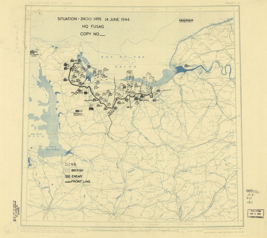 [June 14, 1944], HQ Twelfth Army Group situation map.