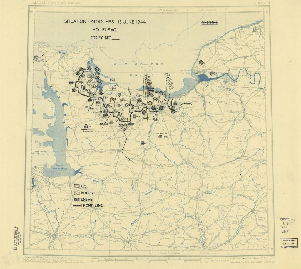 [June 15, 1944], HQ Twelfth Army Group situation map.
