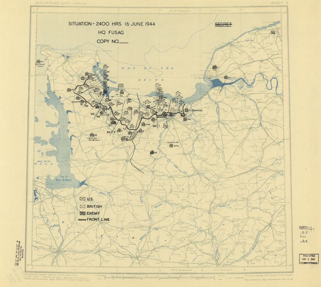[June 16, 1944], HQ Twelfth Army Group situation map.