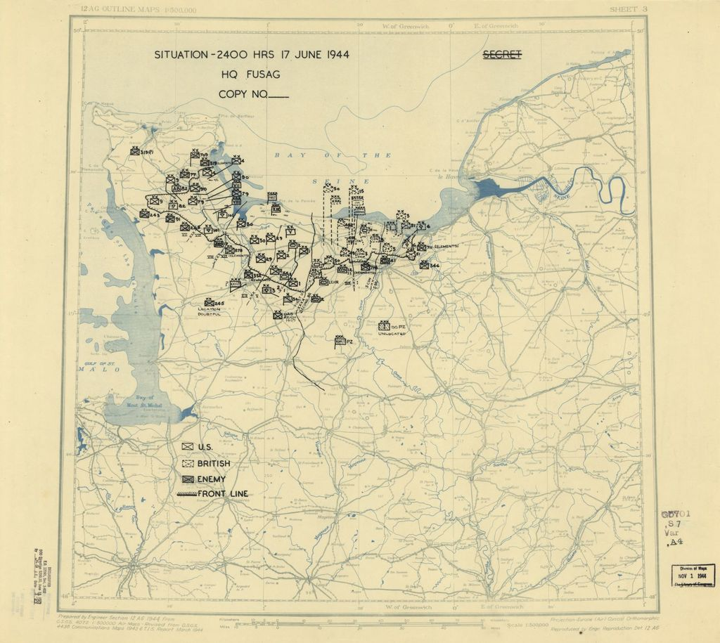 [June 17, 1944], HQ Twelfth Army Group situation map.