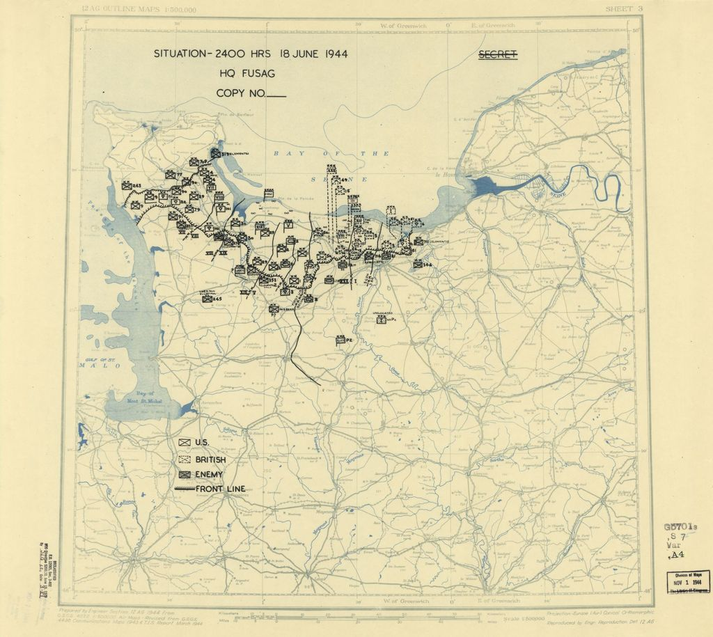 [June 18, 1944], HQ Twelfth Army Group situation map.