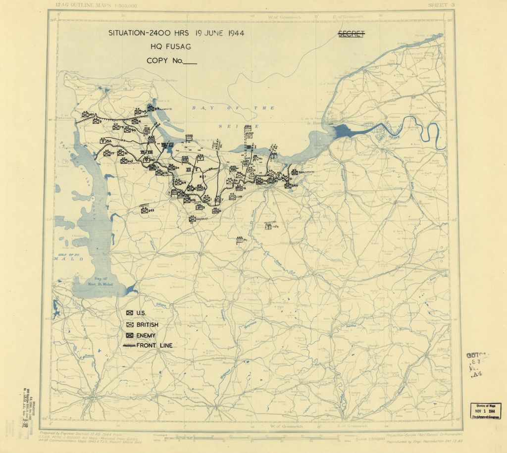 [June 19, 1944], HQ Twelfth Army Group situation map.