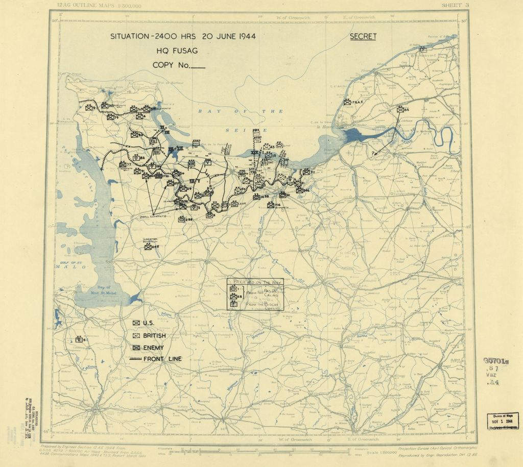 [June 20, 1944], HQ Twelfth Army Group situation map.