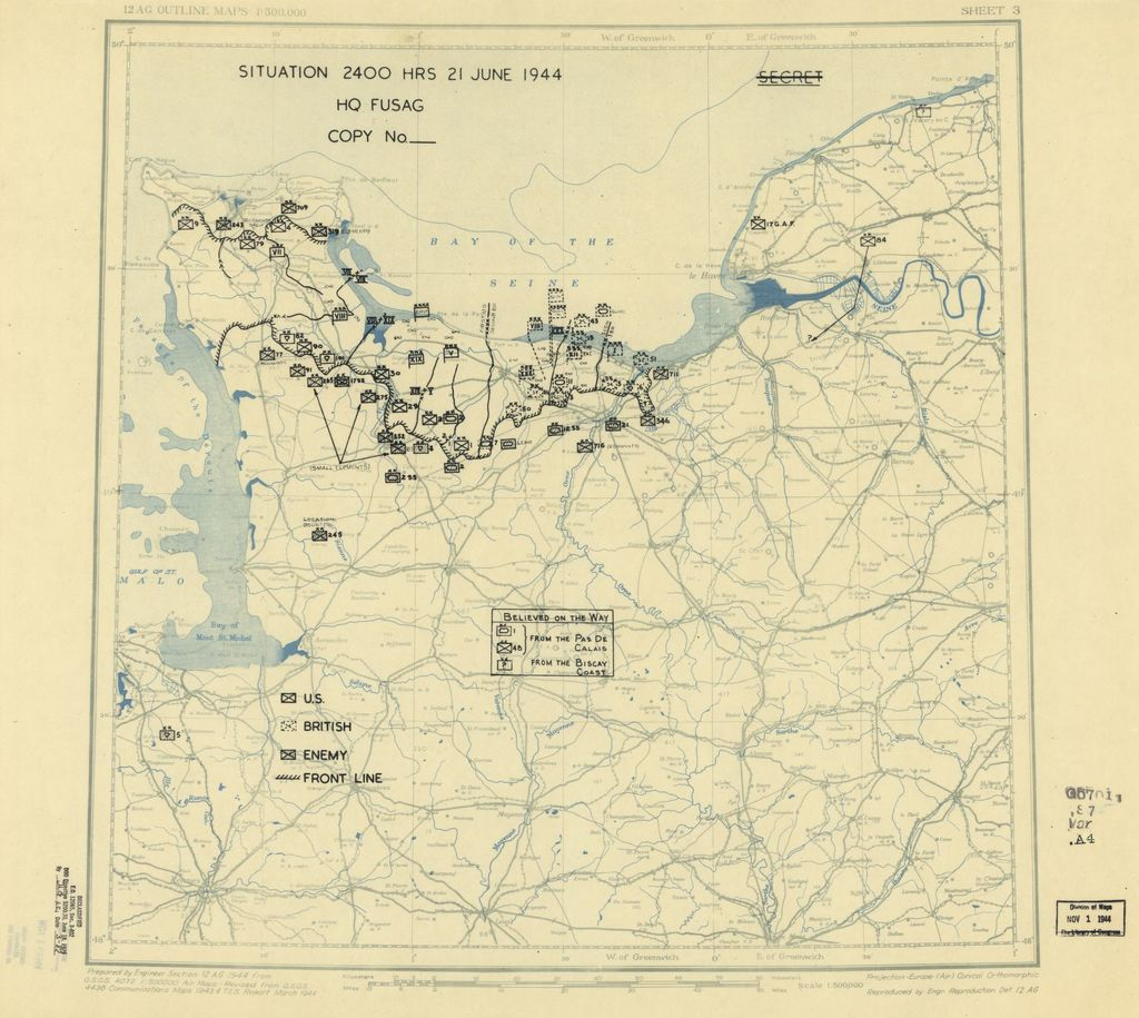 [June 21, 1944], HQ Twelfth Army Group situation map.