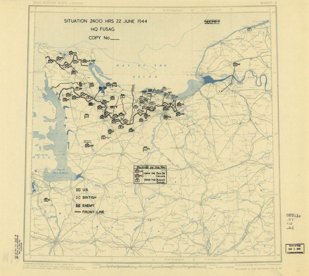 [June 22, 1944], HQ Twelfth Army Group situation map.