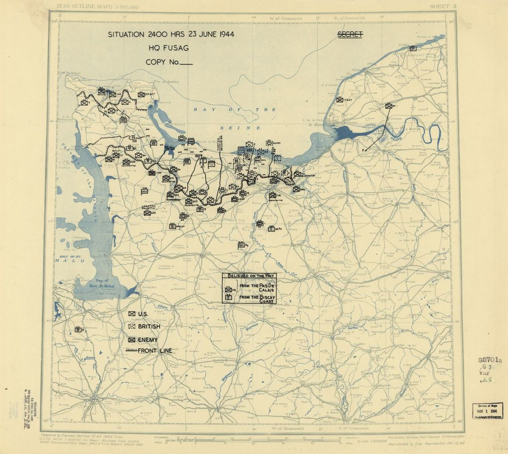 [June 23, 1944], HQ Twelfth Army Group situation map.
