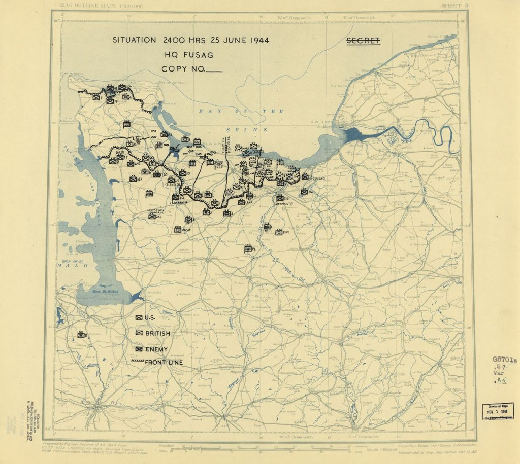 [June 25, 1944], HQ Twelfth Army Group situation map.