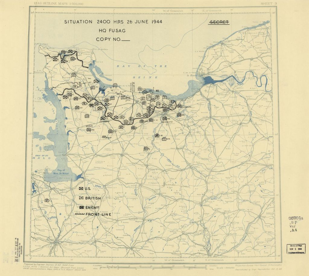 [June 26, 1944], HQ Twelfth Army Group situation map.