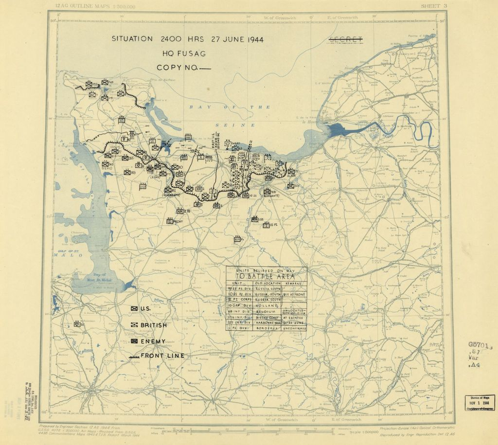 [June 27, 1944], HQ Twelfth Army Group situation map.