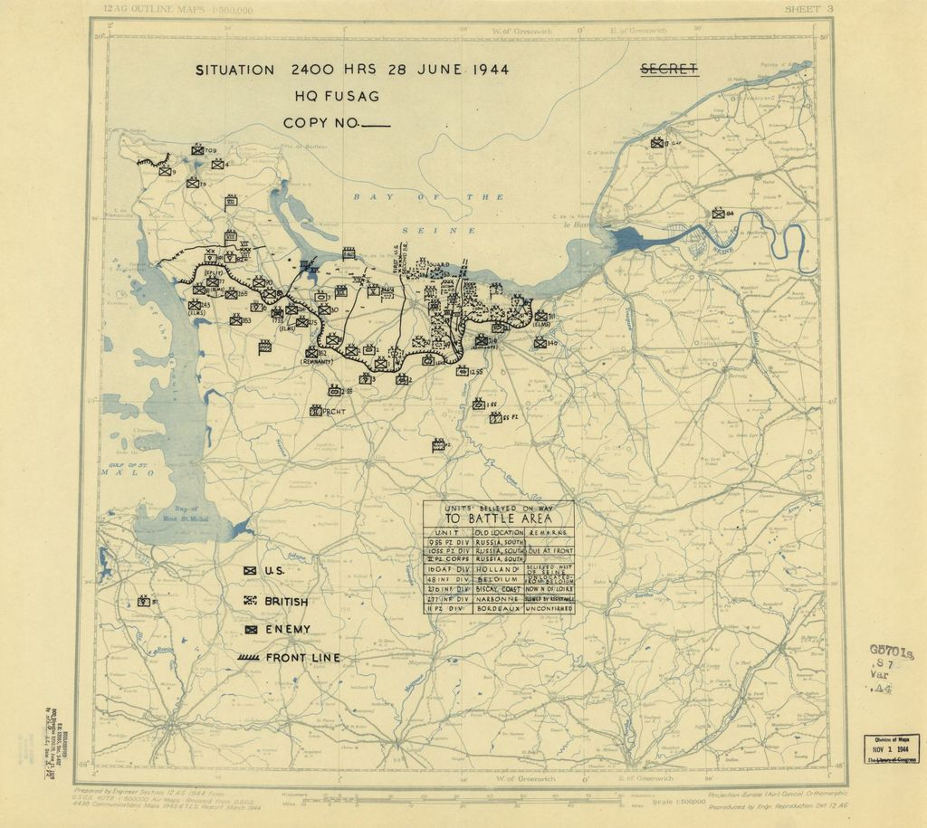 [June 28, 1944], HQ Twelfth Army Group situation map.